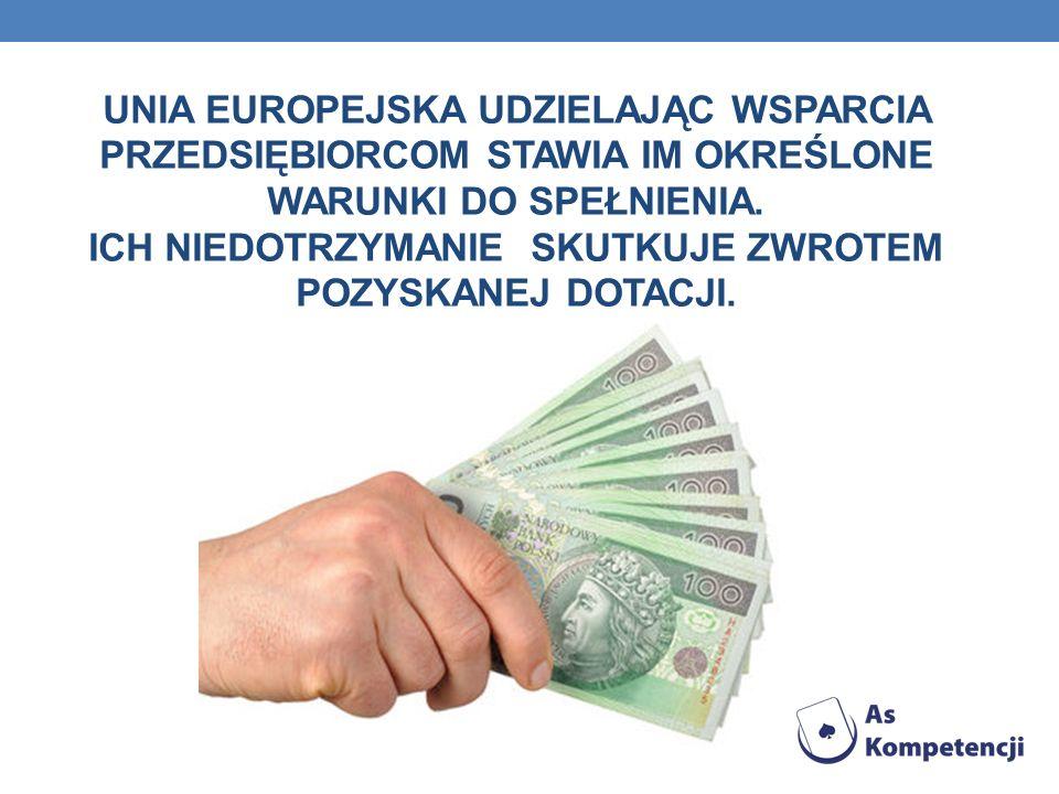 UNIA EUROPEJSKA UDZIELAJĄC WSPARCIA PRZEDSIĘBIORCOM STAWIA IM OKREŚLONE WARUNKI DO SPEŁNIENIA. ICH NIEDOTRZYMANIE SKUTKUJE ZWROTEM POZYSKANEJ DOTACJI.