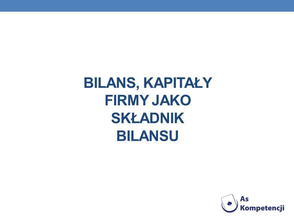 BILANS Bilans to dwustronne zestawienie wartości zasobów majątkowych, czyli aktywów, oraz źródeł ich finansowania, czyli pasywów, sporządzony na określony dzień i w określonej formie.