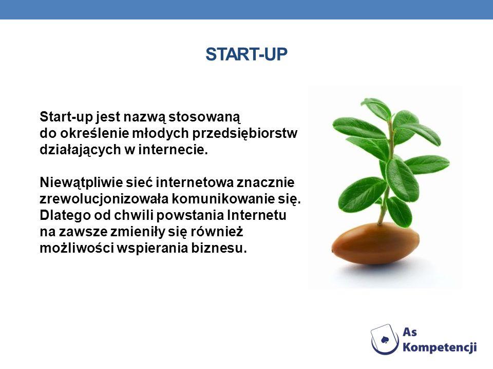 START-UP Start-up jest nazwą stosowaną do określenie młodych przedsiębiorstw działających w internecie. Niewątpliwie sieć internetowa znacznie zrewolu