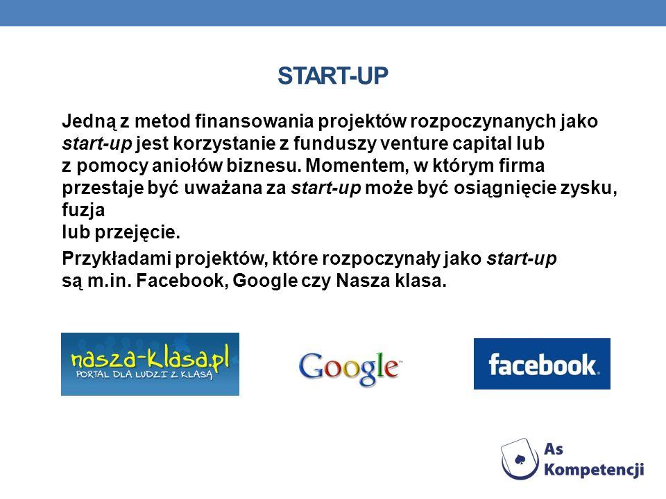 Jedną z metod finansowania projektów rozpoczynanych jako start-up jest korzystanie z funduszy venture capital lub z pomocy aniołów biznesu. Momentem,