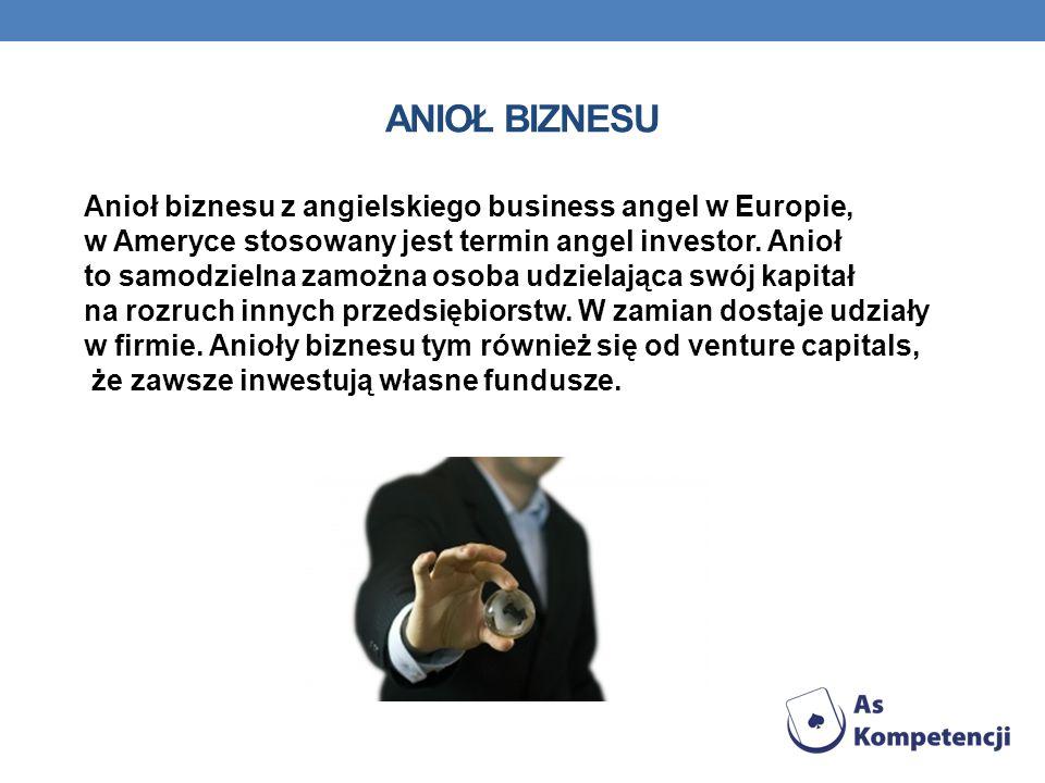 ANIOŁ BIZNESU Anioł biznesu z angielskiego business angel w Europie, w Ameryce stosowany jest termin angel investor. Anioł to samodzielna zamożna osob