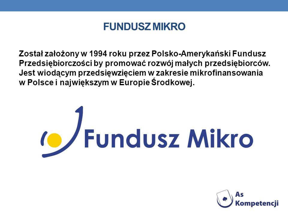 FUNDUSZ MIKRO Został założony w 1994 roku przez Polsko-Amerykański Fundusz Przedsiębiorczości by promować rozwój małych przedsiębiorców. Jest wiodącym