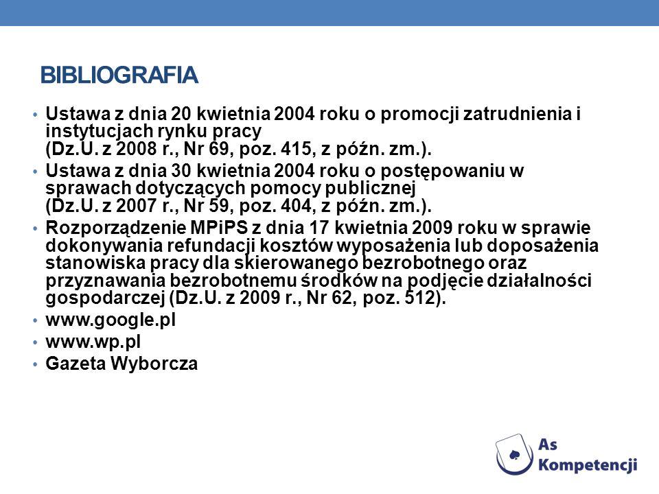 Ustawa z dnia 20 kwietnia 2004 roku o promocji zatrudnienia i instytucjach rynku pracy (Dz.U. z 2008 r., Nr 69, poz. 415, z późn. zm.). Ustawa z dnia