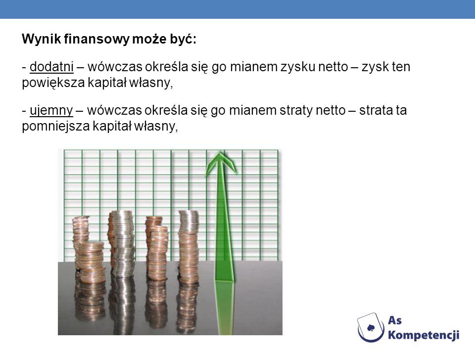Wynik finansowy może być: - dodatni – wówczas określa się go mianem zysku netto – zysk ten powiększa kapitał własny, - ujemny – wówczas określa się go
