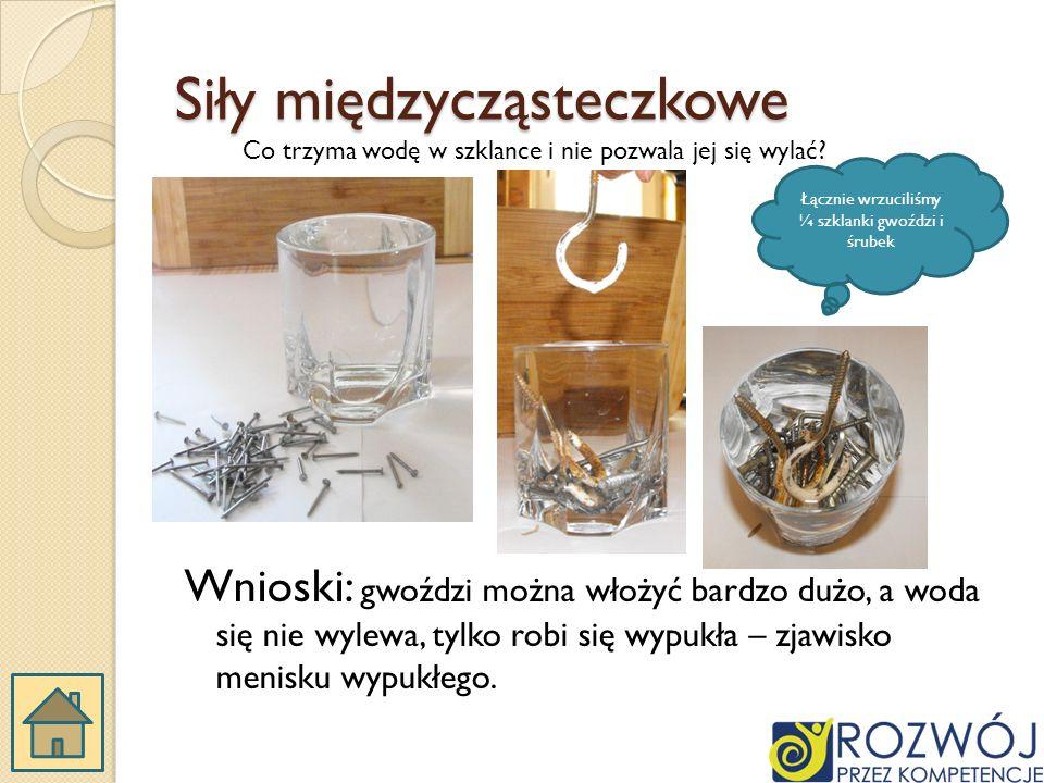 Siły międzycząsteczkowe Wnioski: gwoździ można włożyć bardzo dużo, a woda się nie wylewa, tylko robi się wypukła – zjawisko menisku wypukłego.