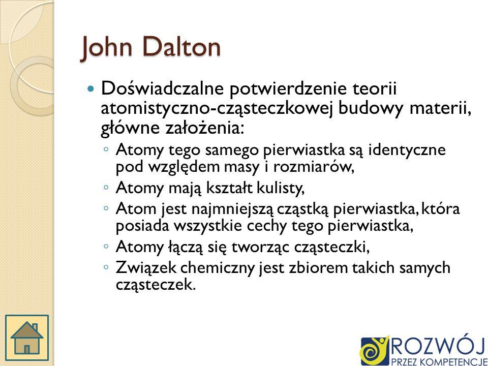John Dalton Doświadczalne potwierdzenie teorii atomistyczno-cząsteczkowej budowy materii, główne założenia: Atomy tego samego pierwiastka są identyczne pod względem masy i rozmiarów, Atomy mają kształt kulisty, Atom jest najmniejszą cząstką pierwiastka, która posiada wszystkie cechy tego pierwiastka, Atomy łączą się tworząc cząsteczki, Związek chemiczny jest zbiorem takich samych cząsteczek.