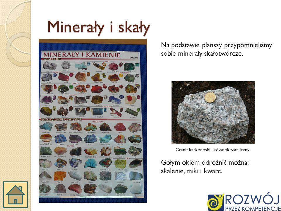 Minerały i skały Na podstawie planszy przypomnieliśmy sobie minerały skałotwórcze.