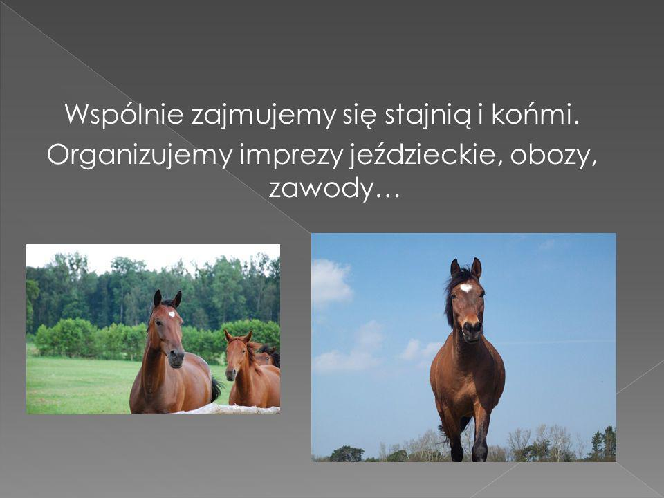 Wspólnie zajmujemy się stajnią i końmi. Organizujemy imprezy jeździeckie, obozy, zawody…