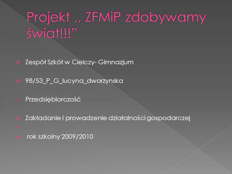Zespół Szkół w Cielczy- Gimnazjum 98/53_P_G_lucyna_dworzynska Przedsiębiorczość Zakładanie i prowadzenie działalności gospodarczej rok szkolny 2009/2010