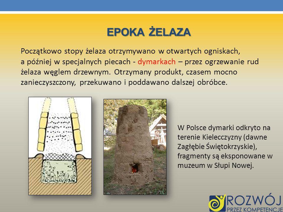 EPOKA ŻELAZA Początkowo stopy żelaza otrzymywano w otwartych ogniskach, a później w specjalnych piecach - dymarkach – przez ogrzewanie rud żelaza węgl