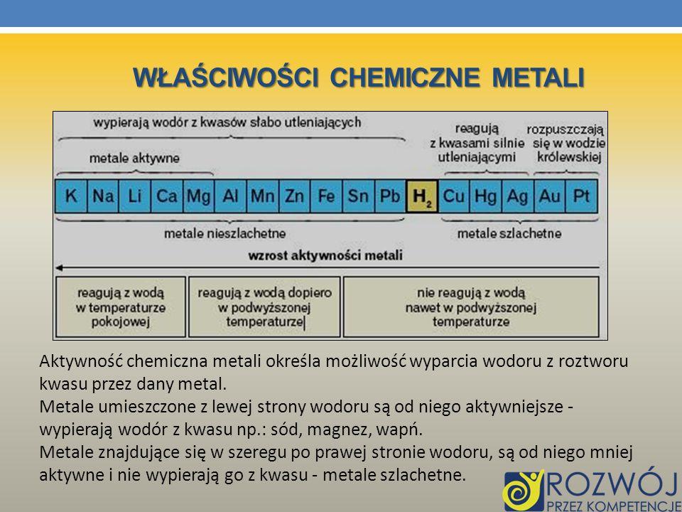 Aktywność chemiczna metali określa możliwość wyparcia wodoru z roztworu kwasu przez dany metal. Metale umieszczone z lewej strony wodoru są od niego a