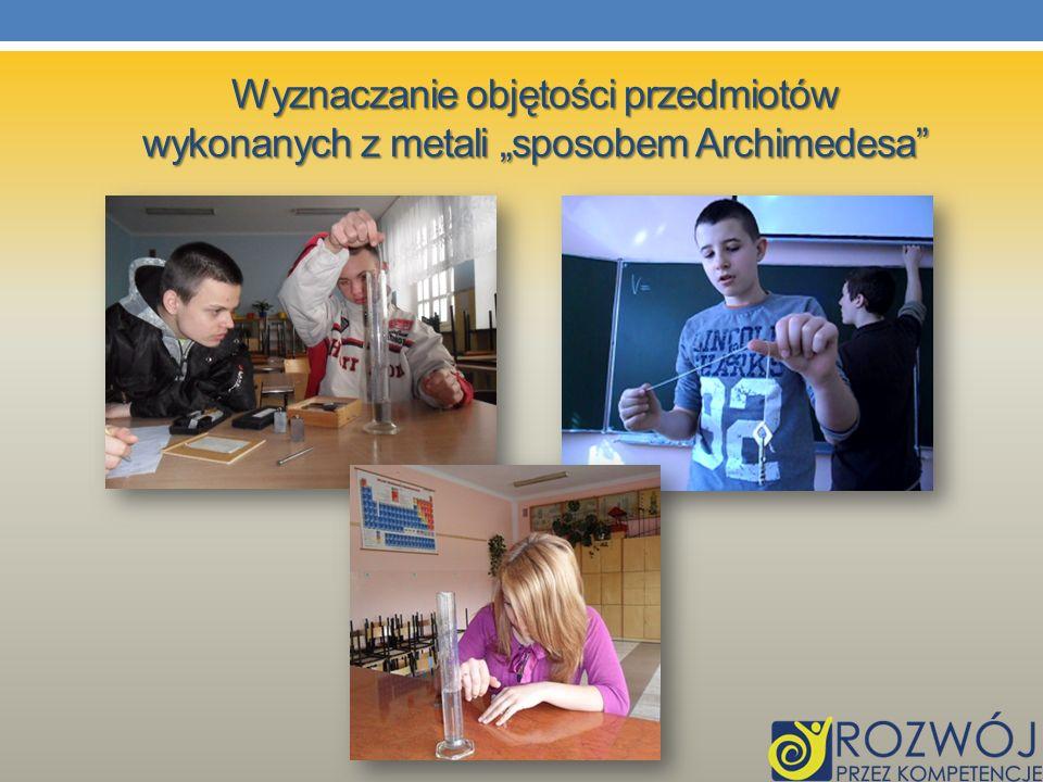 Wyznaczanie objętości przedmiotów wykonanych z metali sposobem Archimedesa