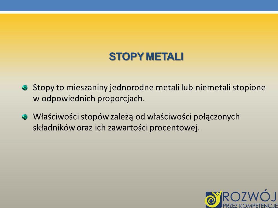 STOPY METALI Stopy to mieszaniny jednorodne metali lub niemetali stopione w odpowiednich proporcjach. Właściwości stopów zależą od właściwości połączo