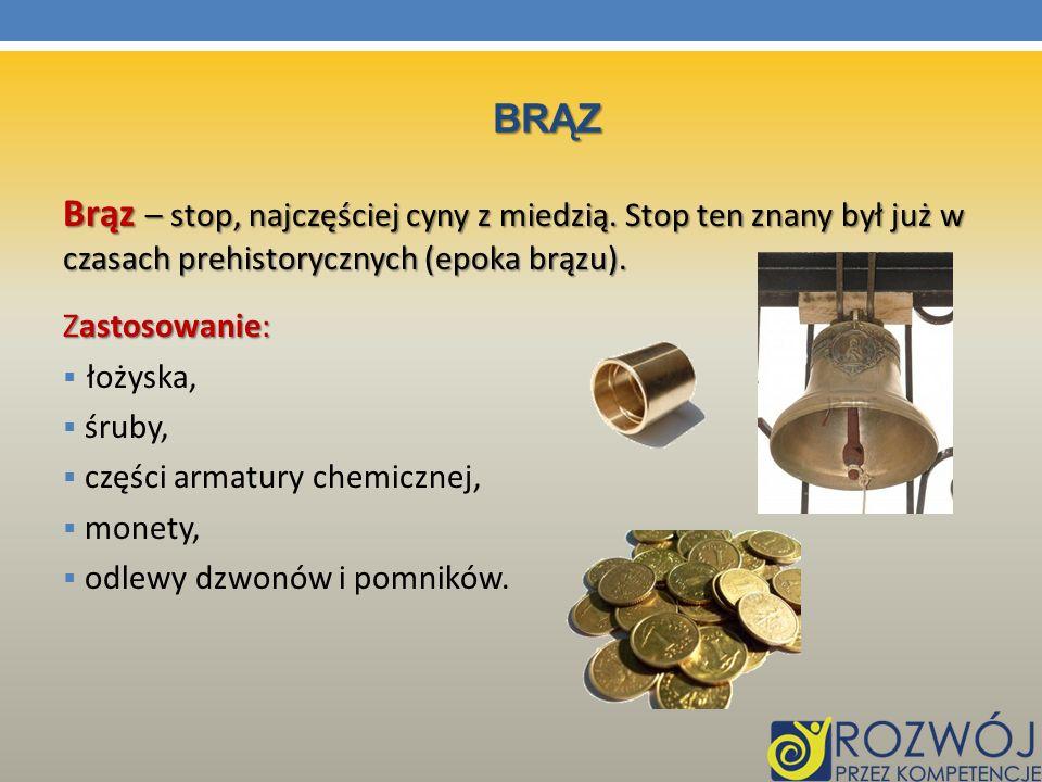 BRĄZ Brąz – stop, najczęściej cyny z miedzią. Stop ten znany był już w czasach prehistorycznych (epoka brązu). Zastosowanie: łożyska, śruby, części ar