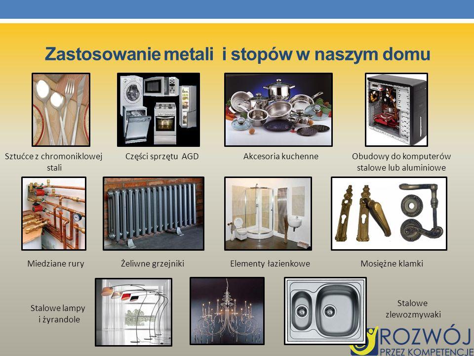 Zastosowanie metali i stopów w naszym domu Sztućce z chromoniklowej stali Obudowy do komputerów stalowe lub aluminiowe Akcesoria kuchenneCzęści sprzęt