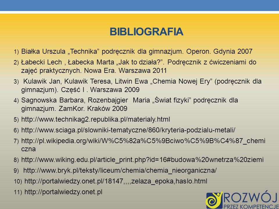 BIBLIOGRAFIA 1) Białka Urszula Technika podręcznik dla gimnazjum. Operon. Gdynia 2007 2) Łabecki Lech, Łabecka Marta Jak to działa?. Podręcznik z ćwic