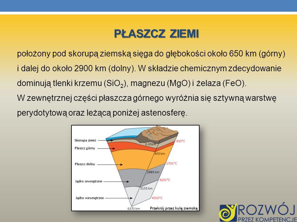 PŁASZCZ ZIEMI położony pod skorupą ziemską sięga do głębokości około 650 km (górny) i dalej do około 2900 km (dolny). W składzie chemicznym zdecydowan