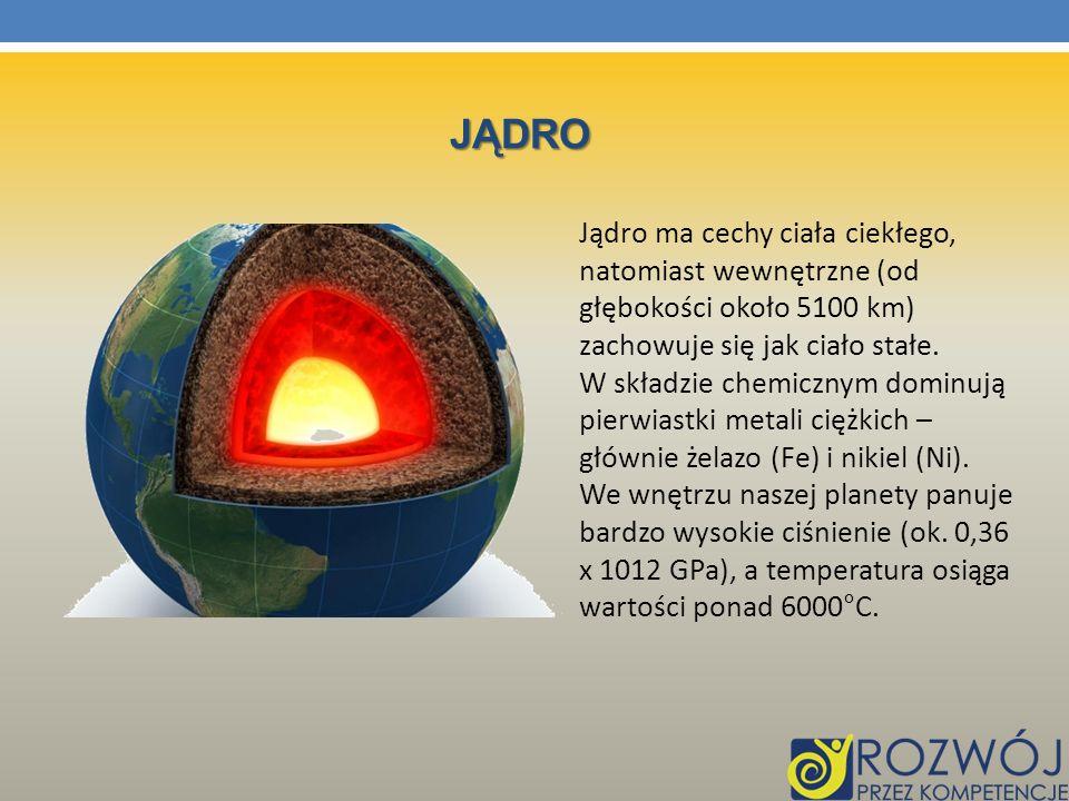 JĄDRO Jądro ma cechy ciała ciekłego, natomiast wewnętrzne (od głębokości około 5100 km) zachowuje się jak ciało stałe. W składzie chemicznym dominują