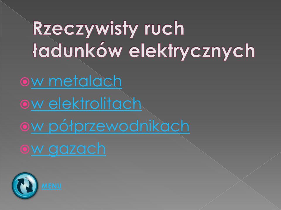 w metalach w elektrolitach w półprzewodnikach w gazach MENU