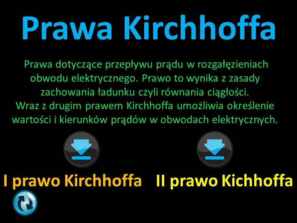Prawa Kirchhoffa I prawo KirchhoffaII prawo Kichhoffa Prawa dotyczące przepływu prądu w rozgałęzieniach obwodu elektrycznego. Prawo to wynika z zasady