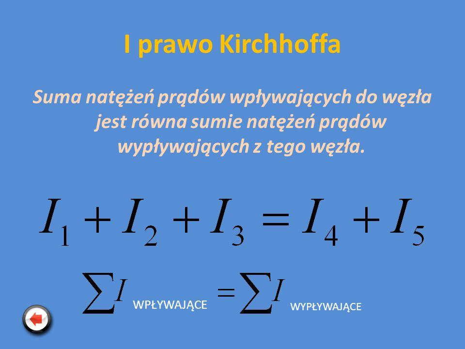 I prawo Kirchhoffa Suma natężeń prądów wpływających do węzła jest równa sumie natężeń prądów wypływających z tego węzła. WPŁYWAJĄCE WYPŁYWAJĄCE