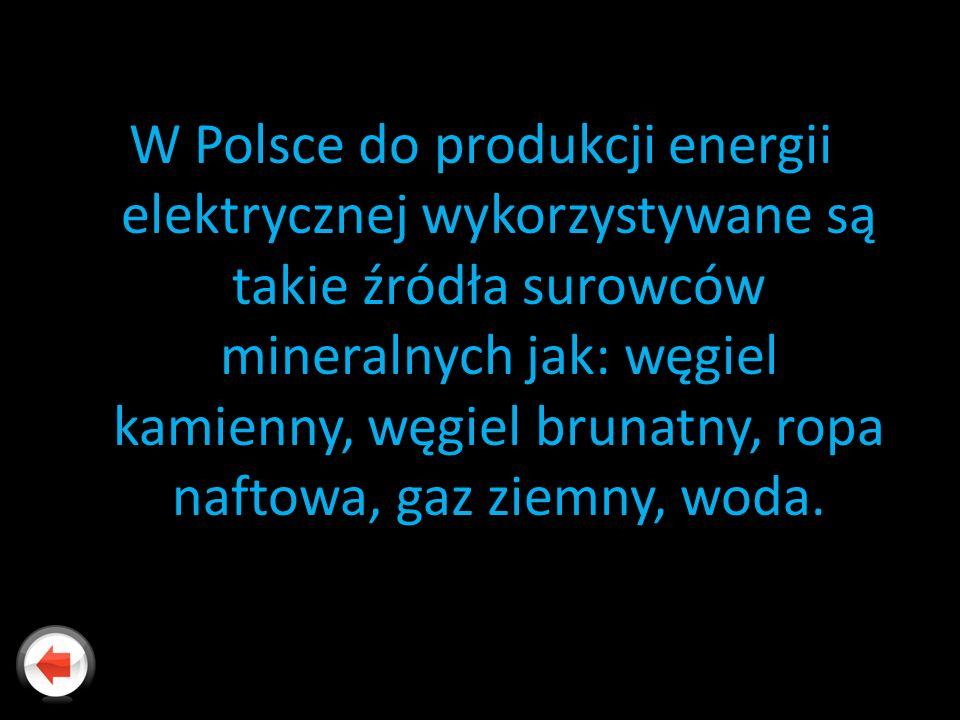 W Polsce do produkcji energii elektrycznej wykorzystywane są takie źródła surowców mineralnych jak: węgiel kamienny, węgiel brunatny, ropa naftowa, gaz ziemny, woda.