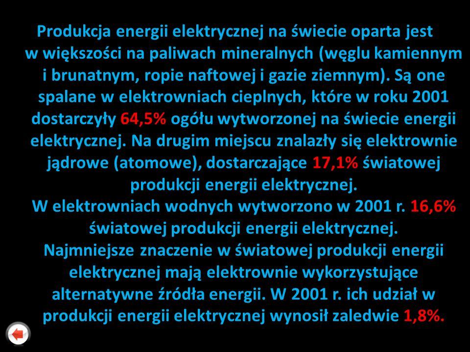 Produkcja energii elektrycznej na świecie oparta jest w większości na paliwach mineralnych (węglu kamiennym i brunatnym, ropie naftowej i gazie ziemny