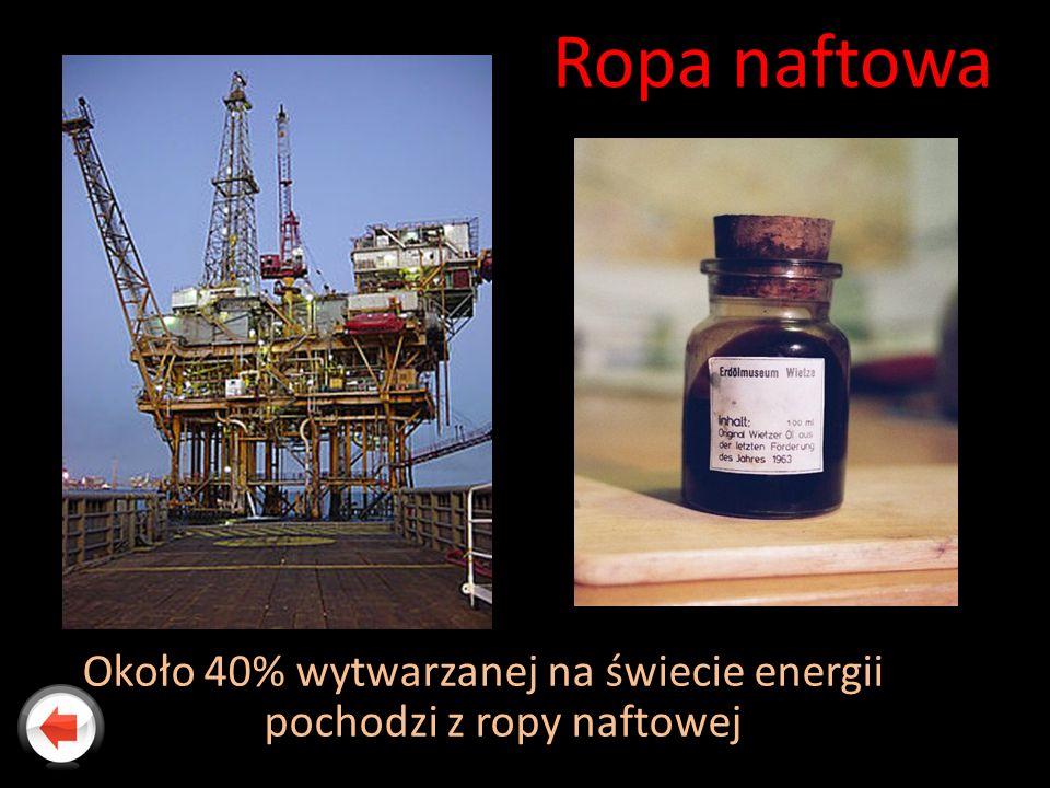 Ropa naftowa Około 40% wytwarzanej na świecie energii pochodzi z ropy naftowej
