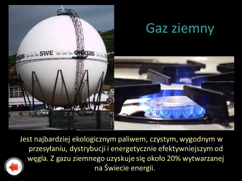 Gaz ziemny Jest najbardziej ekologicznym paliwem, czystym, wygodnym w przesyłaniu, dystrybucji i energetycznie efektywniejszym od węgla. Z gazu ziemne