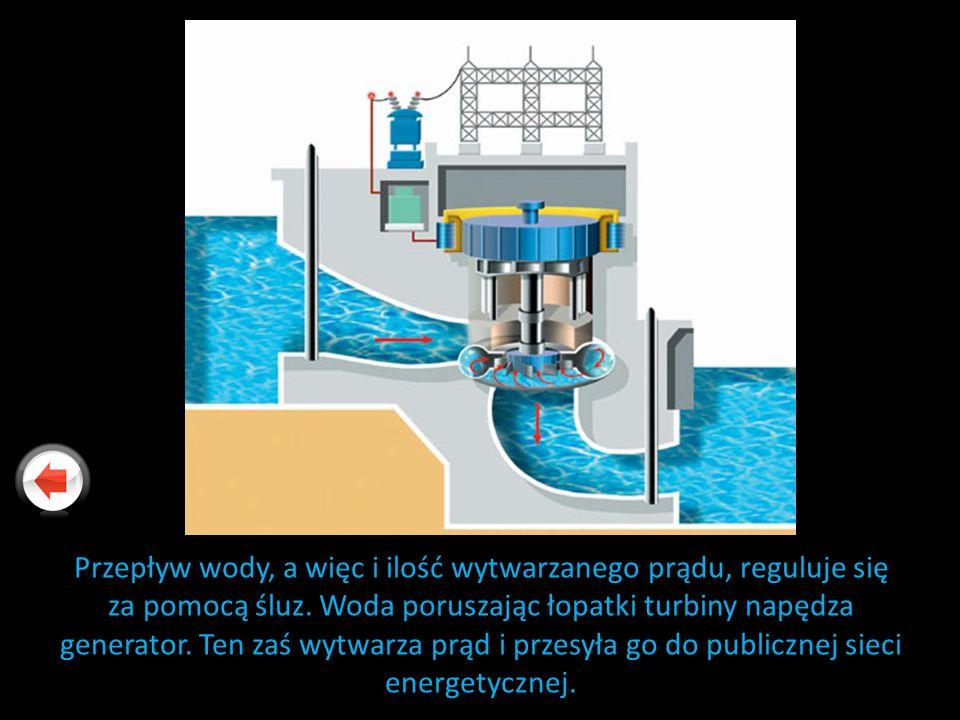 Przepływ wody, a więc i ilość wytwarzanego prądu, reguluje się za pomocą śluz. Woda poruszając łopatki turbiny napędza generator. Ten zaś wytwarza prą
