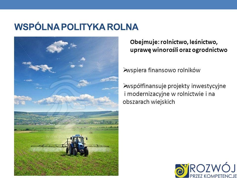 WSPÓLNA POLITYKA ROLNA Obejmuje: rolnictwo, leśnictwo, uprawę winorośli oraz ogrodnictwo wspiera finansowo rolników współfinansuje projekty inwestycyj