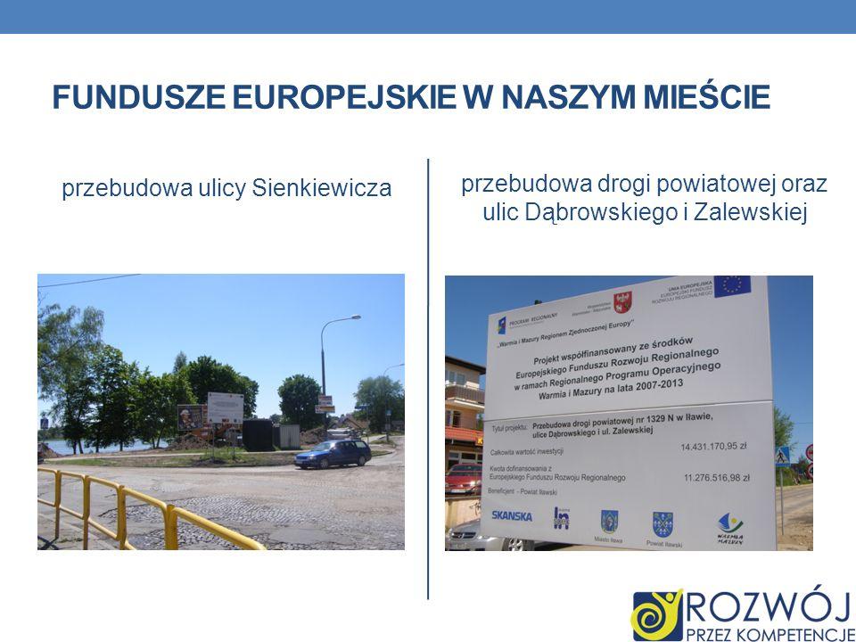 FUNDUSZE EUROPEJSKIE W NASZYM MIEŚCIE przebudowa ulicy Sienkiewicza przebudowa drogi powiatowej oraz ulic Dąbrowskiego i Zalewskiej
