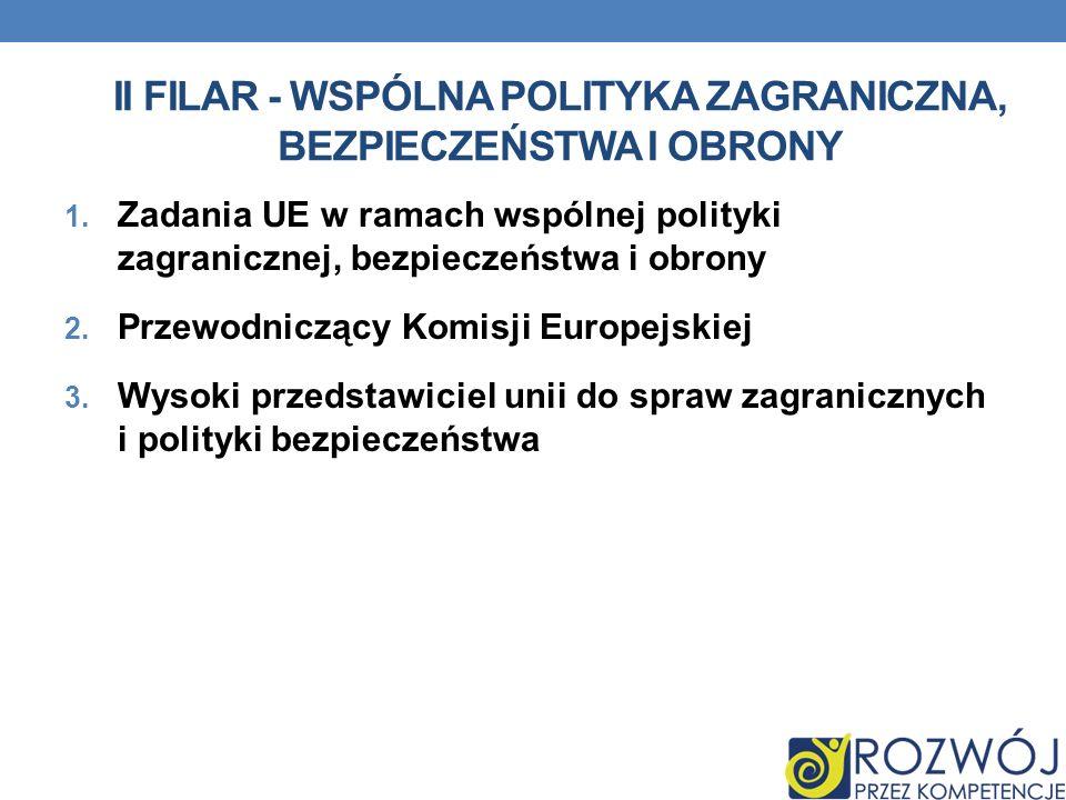 II FILAR - WSPÓLNA POLITYKA ZAGRANICZNA, BEZPIECZEŃSTWA I OBRONY 1. Zadania UE w ramach wspólnej polityki zagranicznej, bezpieczeństwa i obrony 2. Prz