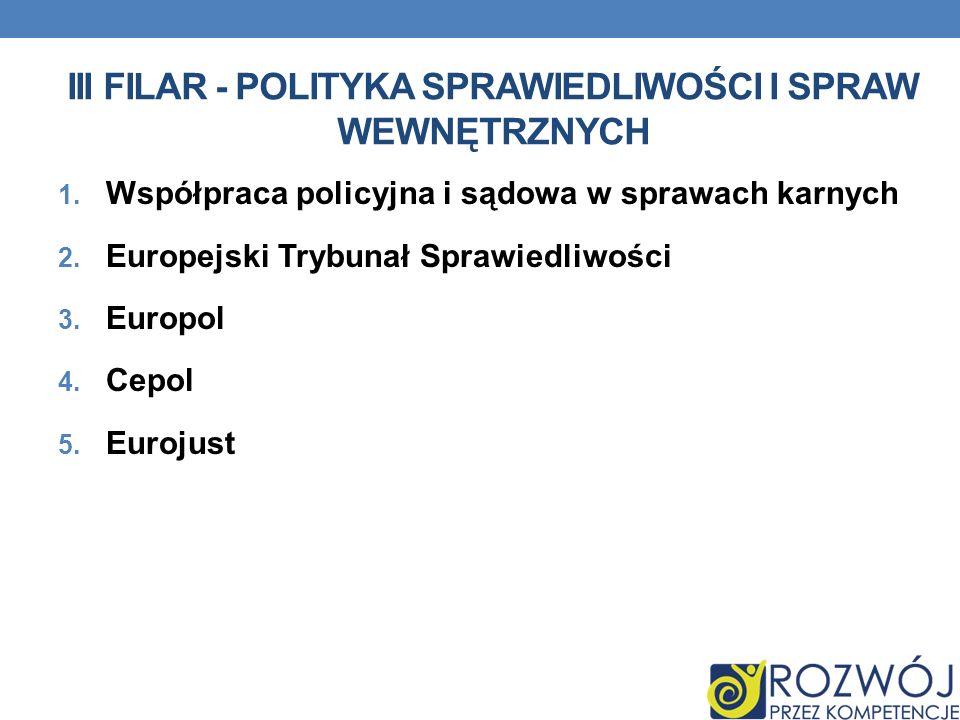 III FILAR - POLITYKA SPRAWIEDLIWOŚCI I SPRAW WEWNĘTRZNYCH 1. Współpraca policyjna i sądowa w sprawach karnych 2. Europejski Trybunał Sprawiedliwości 3