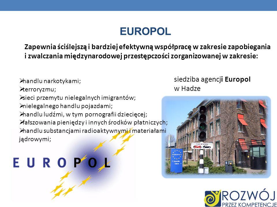 EUROPOL Zapewnia ściślejszą i bardziej efektywną współpracę w zakresie zapobiegania i zwalczania międzynarodowej przestępczości zorganizowanej w zakre