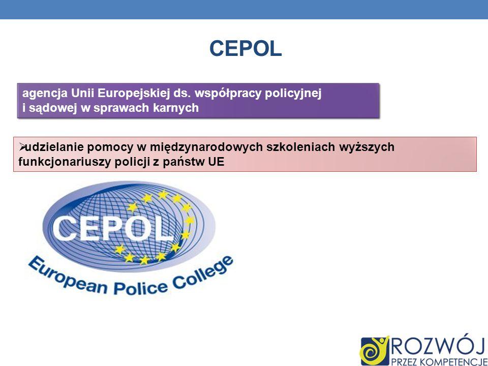 CEPOL udzielanie pomocy w międzynarodowych szkoleniach wyższych funkcjonariuszy policji z państw UE agencja Unii Europejskiej ds. współpracy policyjne