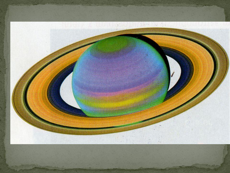Saturn ma wiele księżyców. Jest on otoczony zespołem wspaniałymi pierścieniami. Składają się one z oblodzonego pyłu i skał. Planeta ta bardzo szybko o