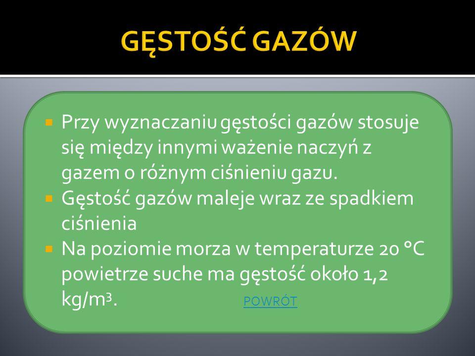 Przy wyznaczaniu gęstości gazów stosuje się między innymi ważenie naczyń z gazem o różnym ciśnieniu gazu. Gęstość gazów maleje wraz ze spadkiem ciśnie