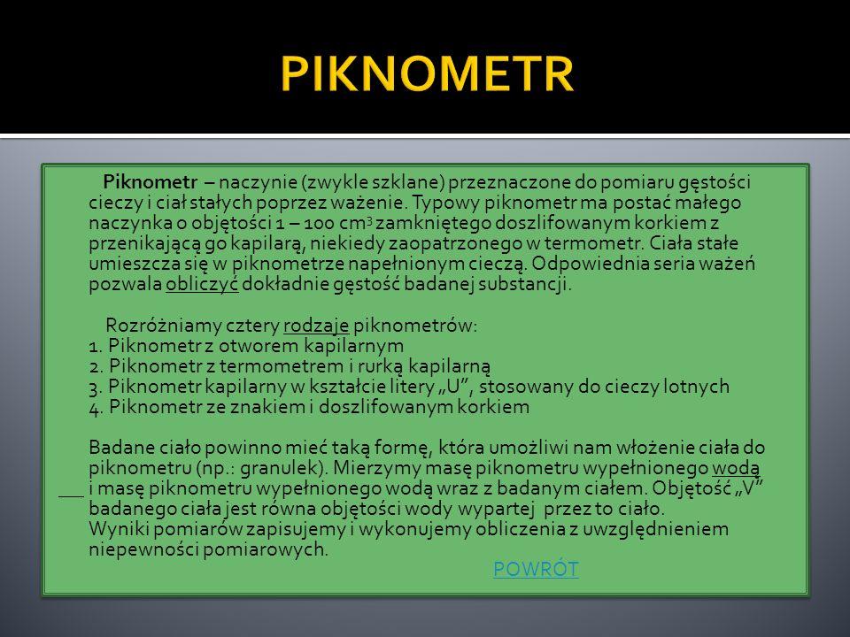 Piknometr – naczynie (zwykle szklane) przeznaczone do pomiaru gęstości cieczy i ciał stałych poprzez ważenie. Typowy piknometr ma postać małego naczyn
