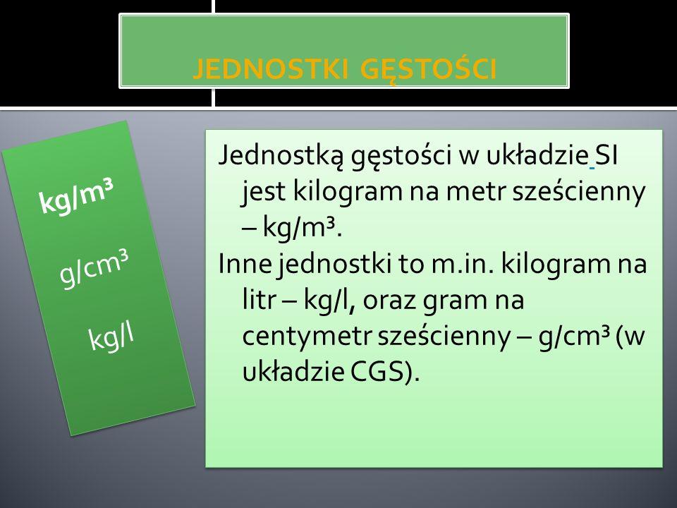 JEDNOSTKI GĘSTOŚCI Jednostką gęstości w układzie SI jest kilogram na metr sześcienny – kg/m³. Inne jednostki to m.in. kilogram na litr – kg/l, oraz gr