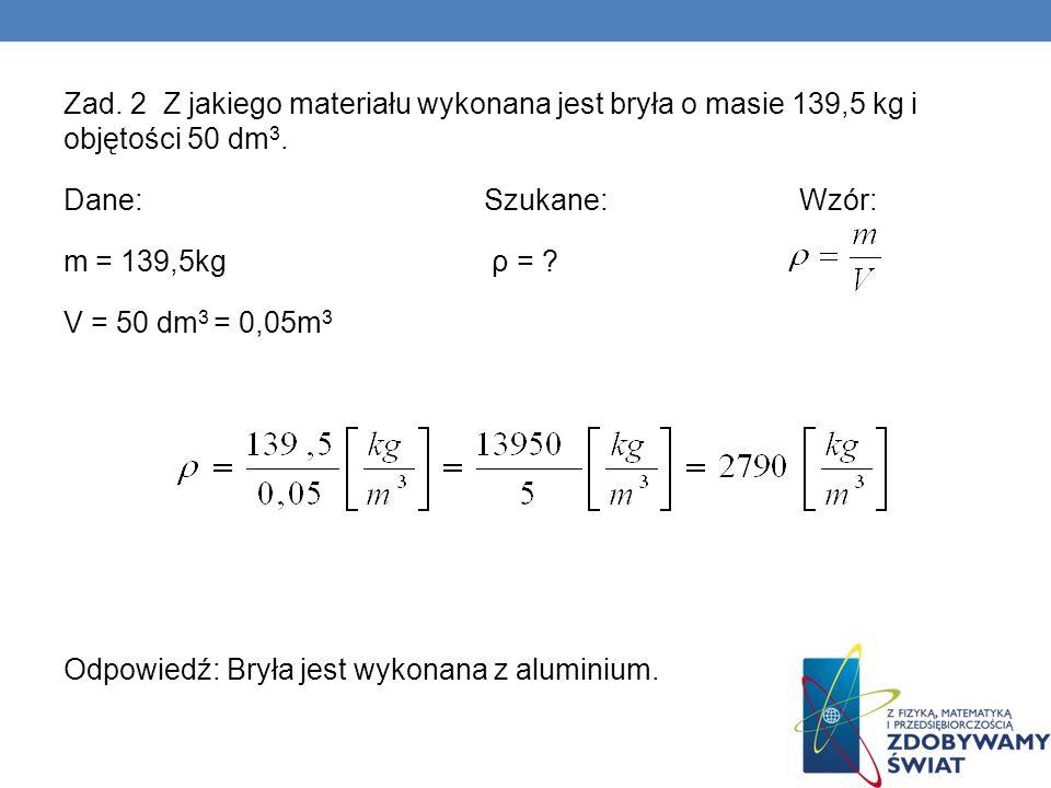 Zad. 2 Z jakiego materiału wykonana jest bryła o masie 139,5 kg i objętości 50 dm 3. Dane:Szukane:Wzór: m = 139,5kg ρ = ? V = 50 dm 3 = 0,05m 3 Odpowi