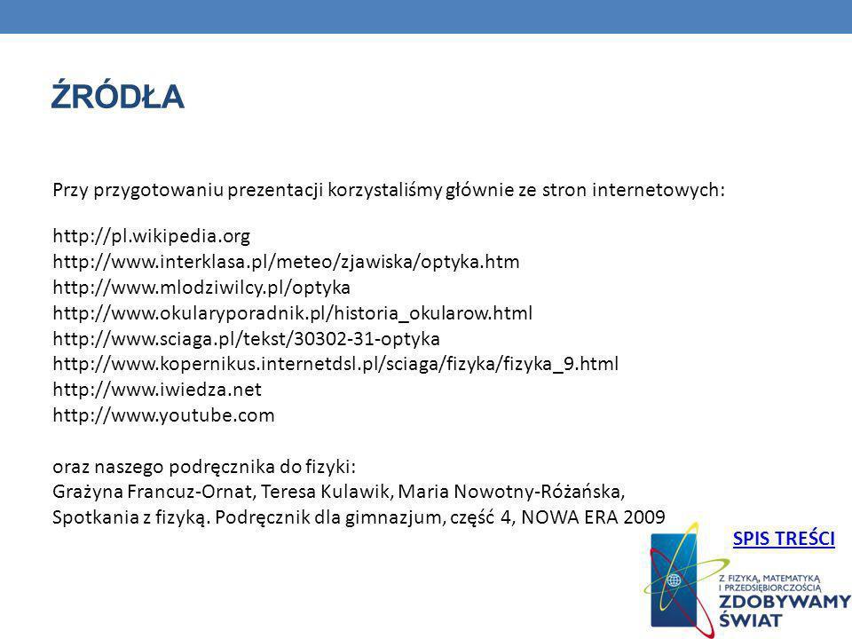 ŹRÓDŁA http://pl.wikipedia.org http://www.interklasa.pl/meteo/zjawiska/optyka.htm http://www.mlodziwilcy.pl/optyka http://www.okularyporadnik.pl/histo