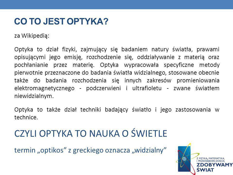 CO TO JEST OPTYKA? za Wikipedią: Optyka to dział fizyki, zajmujący się badaniem natury światła, prawami opisującymi jego emisję, rozchodzenie się, odd