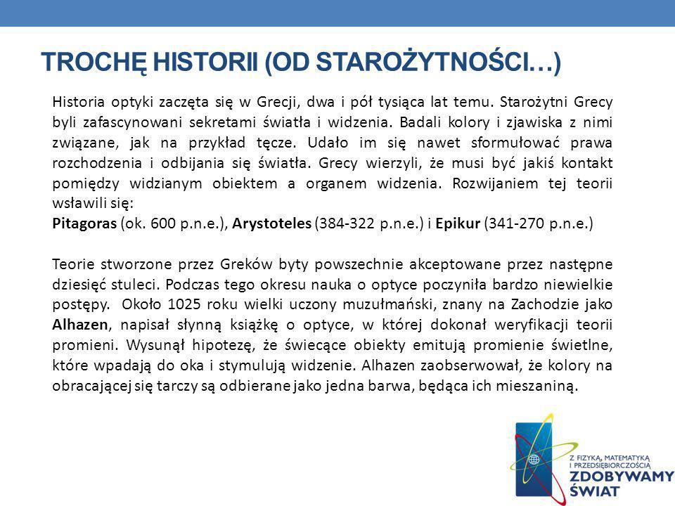 TROCHĘ HISTORII (OD STAROŻYTNOŚCI…) Historia optyki zaczęta się w Grecji, dwa i pół tysiąca lat temu. Starożytni Grecy byli zafascynowani sekretami św