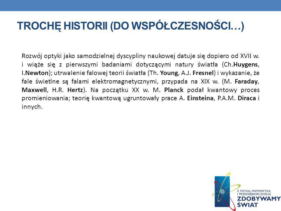 TROCHĘ HISTORII (DO WSPÓŁCZESNOŚCI…) Rozwój optyki jako samodzielnej dyscypliny naukowej datuje się dopiero od XVII w. i wiąże się z pierwszymi badani