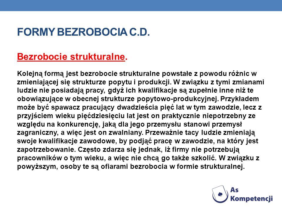 FORMY BEZROBOCIA C.D. Bezrobocie strukturalne. Kolejną formą jest bezrobocie strukturalne powstałe z powodu różnic w zmieniającej się strukturze popyt