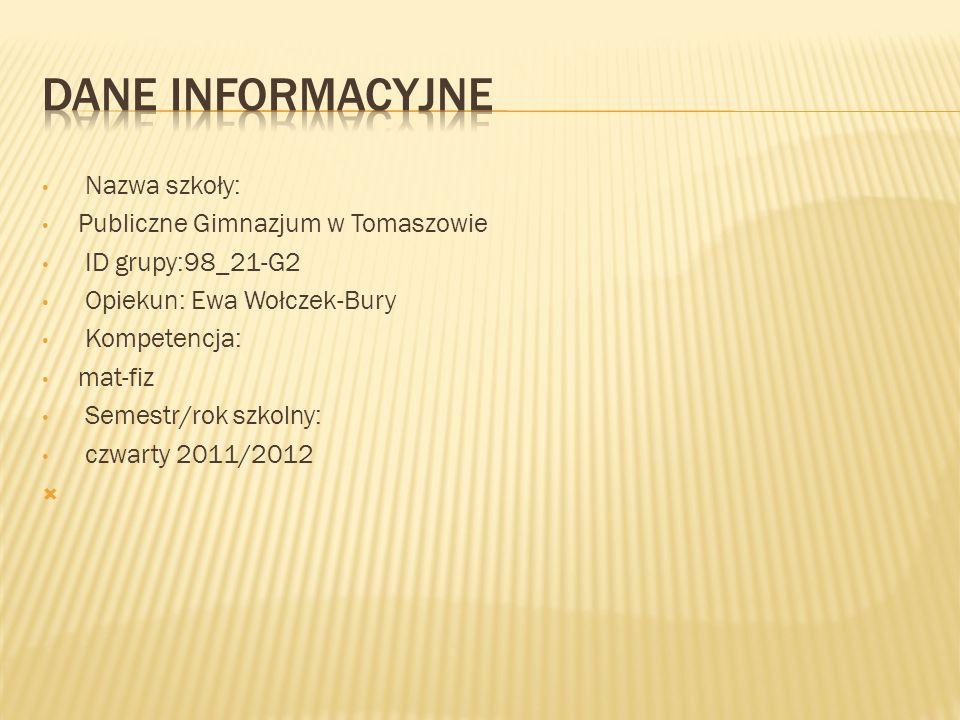 Nazwa szkoły: Publiczne Gimnazjum w Tomaszowie ID grupy:98_21-G2 Opiekun: Ewa Wołczek-Bury Kompetencja: mat-fiz Semestr/rok szkolny: czwarty 2011/2012