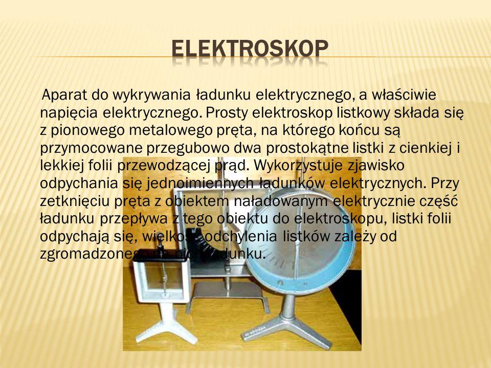 Aparat do wykrywania ładunku elektrycznego, a właściwie napięcia elektrycznego. Prosty elektroskop listkowy składa się z pionowego metalowego pręta, n