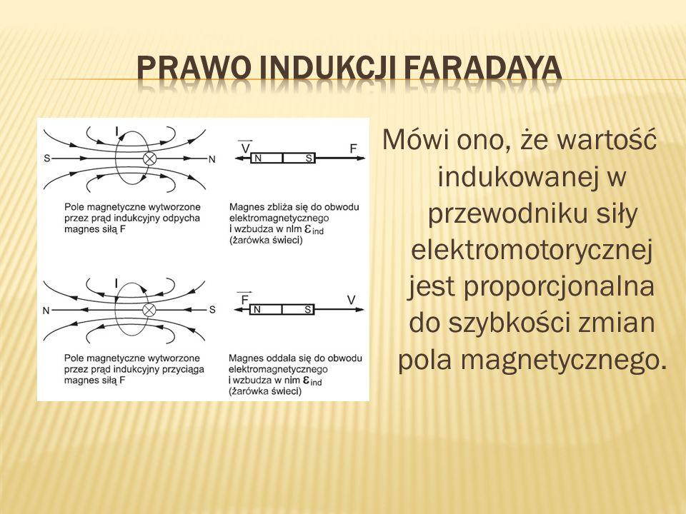 Mówi ono, że wartość indukowanej w przewodniku siły elektromotorycznej jest proporcjonalna do szybkości zmian pola magnetycznego.