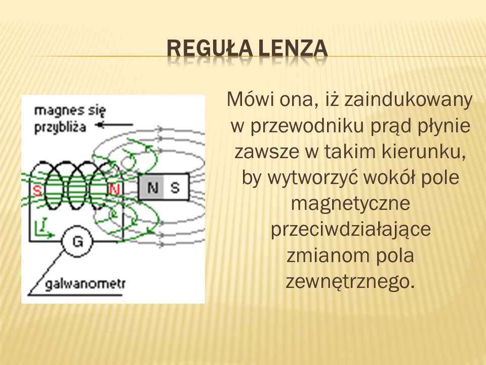 Mówi ona, iż zaindukowany w przewodniku prąd płynie zawsze w takim kierunku, by wytworzyć wokół pole magnetyczne przeciwdziałające zmianom pola zewnętrznego.